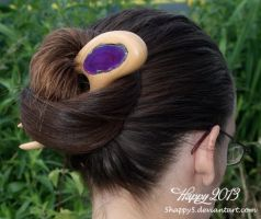 Maple Hair Fork with Inlayed Purple Agate by 5Happy5