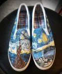 The Starry Night by Vincent Vangoh , custom shoes by Annatarhouse