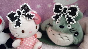 Black and White Gothic Lolita Pixel Bow Hair Clips by Kreepy-Kawaii