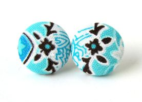 Button earrings stud blue turquoise white black by KooKooCraft