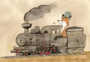 Fox and his train by FoxInShadow