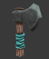 Hand Painted Low Poly Axe by Madgharr