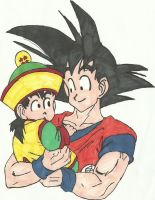 Son Goku and Gohan by Pyramidheadfreak