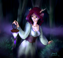 Night walk in the wood by jinzillaspacecat