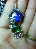 blue, green, and silver  pendant by xXHallowHeartXx