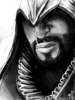 Ezio Sketch in Tegaki by Sukautto