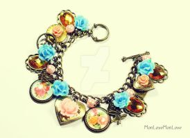 Cottage Garden vintage inspired charms bracelet by MonLoveMonLove