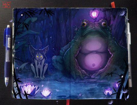 Moleskine: Magical pond by Kate-FoX