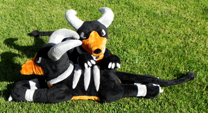 Houndoom Lying Plushies by racingwolf