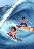 Space Dandy and Steven Universe surfing by Furin94