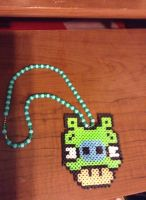 Angry Birds Pig Necklace Perler Kandi by DerpzandStuff