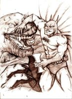 Killer Croc Vs. Batman by MisterHydesSon