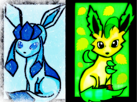 my first Glaceon and Leafeon by KawaiiDarkAngel