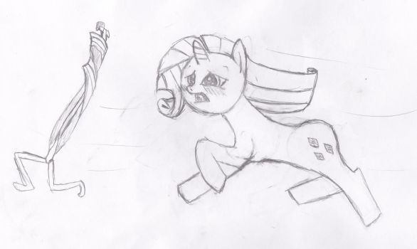 Rarity Chases Her Tail (Sketch) by Funeeboy