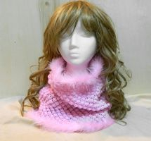 Sweet pink cowl neck warmer hand knit winter scarf by YANKA-arts-n-crafts