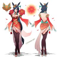 Jade Princess Ahri concept Art by citemer