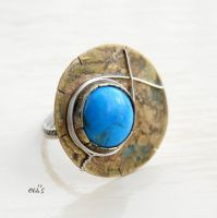 Sterling Silver with Brass and  Howlite Ring by IoannaEvans