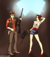 Male and Female Sniper COMMISSION by DKSTUDIOS05