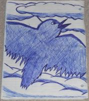 Flying Bird Drawing by DefectiveDre