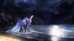 Luna night beach by macalaniaa