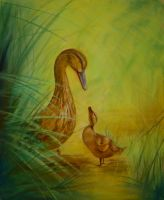 Mother Duck + Duckling - Pastels by 6re9