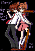 Misao: Aki and Akito SKETCH by BlackReaperNight