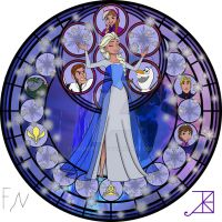 Elsa Stained Glass Line Art By Akili Amethyst by archer635