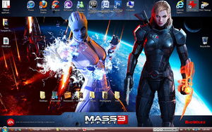 Mass Effect 3: FemShep and Liara Desktop by suicidebyinsecticide