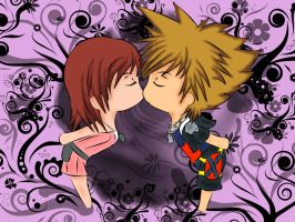 Sora and Kairi-Chibi Kiss by Beastwithaddittude