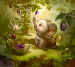Elephant who likes Eggplant by ethe