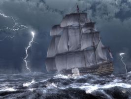 HMS Victory in a Storm by deskridge