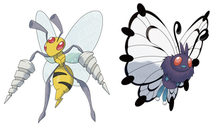 MEGA BEEDRILL and MEGA BUTTERFREE by HallowDew