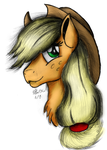 Applejack Portrait Sketch - Colored by AncientOwl