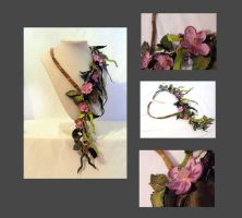 Violet floral leather branch n by julishland