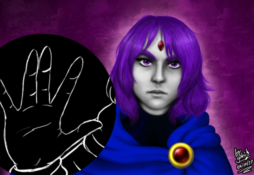Raven - Digital Painting by Waffle-the-kitten