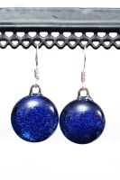 Royal Blue Round Dangly Earrings by Dimolicious