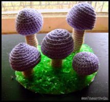 Yarn Mushrooms by Rabid-Turtle