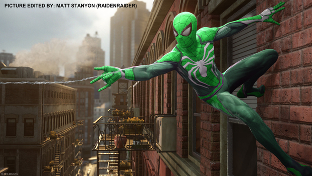 Spider-Man PS4 - Fan Poster (Green Suit) by RaidenRaider