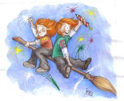Weasley twins by icapeco