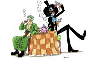 One Piece, Zoro and Brook by heivais