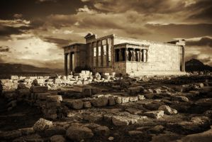Greece - Acropolis - Erechtheion - 01 (BW) by GiardQatar