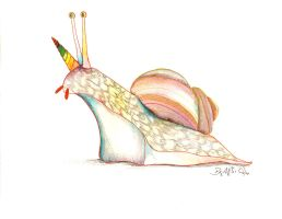 Rainbow Unicorn Snail by VanadiumTaintedBeryl