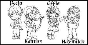 Hunger Games Chibis Line art by Fallonkyra