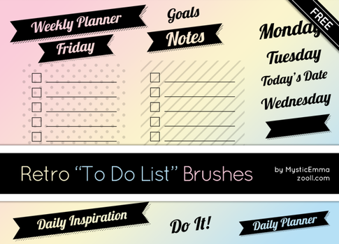 Retro To Do List Brushes by MysticEmma