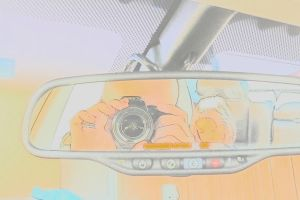 Rearview mirror Self Portrait (With filter) by 7whitefire7
