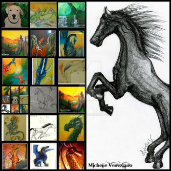 Collage whit paintings and drawings by dragona-del-este