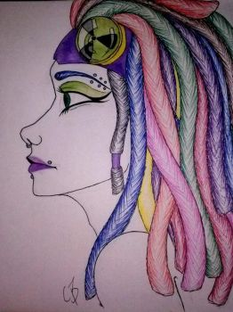 Rainbow Haired Cyber Goth by ButtPirateCas