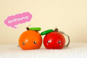 Kawaii Orange and Apple by arihoma