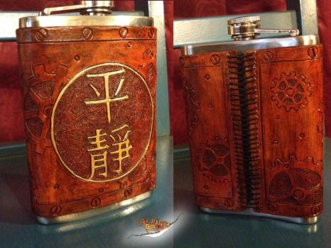 Firefly Serenity Steampunk Leather 8oz Flask by aGrimmDesign
