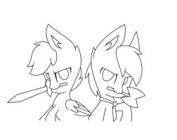 BajanCanadian and Jerome(line art) by FireFox1127